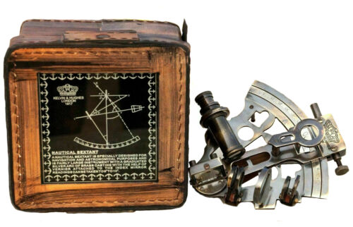Marine Valentine Brass Sextant Nautical Astrolabe Lab Equipment Maritime Than
