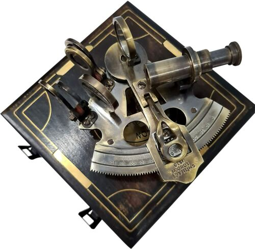 "Hughes London 1917 nautical brass 3""sextant Valentine in vintage wooden box gift"
