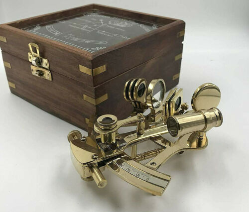 FatherDay decor collectibles gift nautical sextant with antique decor wooden box