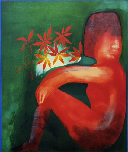 """CHARLES BLACKMAN """"Nude & Flowers"""" LARGE Signed Limited Edition Print 100 x 85cm"""