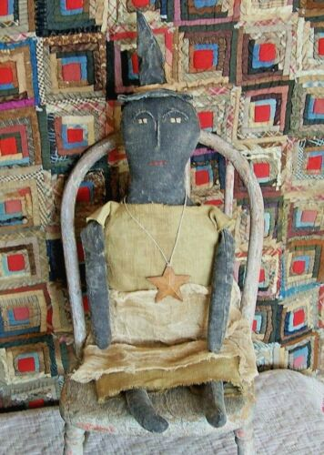 Primitive Black Witch Doll Handmade Halloween Autumn Fall Home Decor