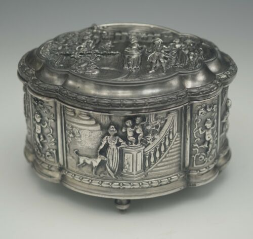 JENNINGS BROTHERS ANTIQUE JEWELRY BOX CASKET DOG CHERUBS REPOUSSE MARKED