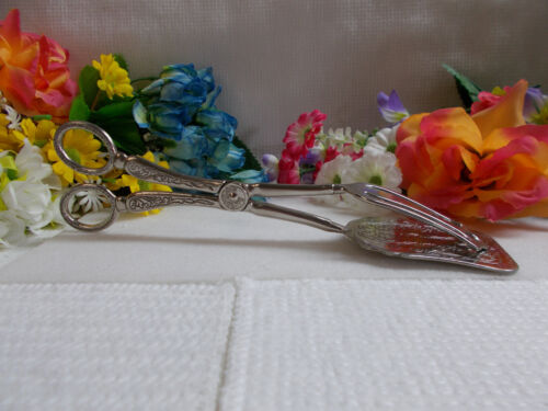 LOVELY SILVER PLATED ORNATE TONGS - MODEL NO 2008 IN ORIGINAL BOX GC # 792