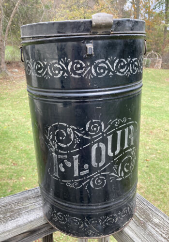 Antique country Tole Ware Flour Bin General Store Circa 1900's canister black
