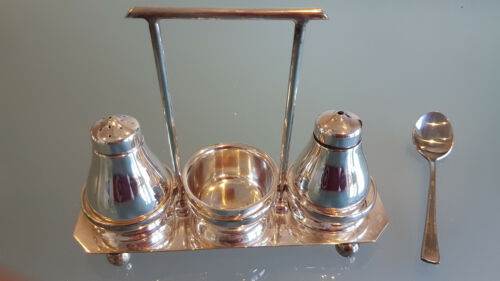 ANTIQUE SILVER PLATED CONDIMENTS SET BY HECWORTH A1 PLATE. (c1940s) FRESH ONE.