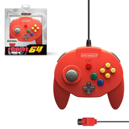 Retro-Bit Tribute 64 Wired N64 Controller for Nintendo 64 N64 Red NEW