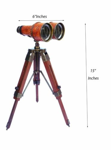 Nautical Brass Binocular Leather Bounded Telescope With Table/Desk Tripod Stand