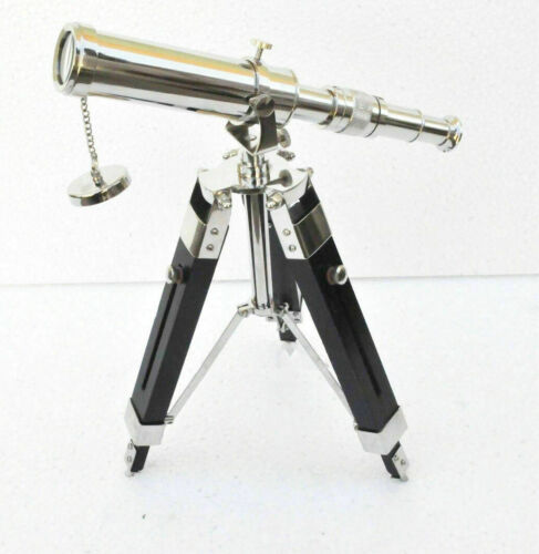 Antique Brass Telescope With Wooden Tripod Stand Collectible Desk Decor Gift Ite