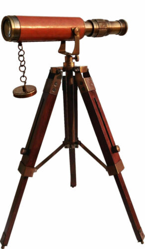 Sailor Telescope Leather Bound In Antique Finish with Wooden Stand Table Decor