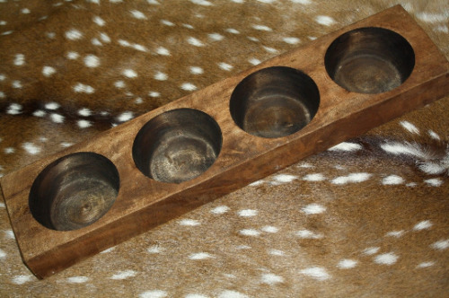 4 Hole Wooden Sugar Mold Wood Candle Holder Primitive Cheese Butter Press