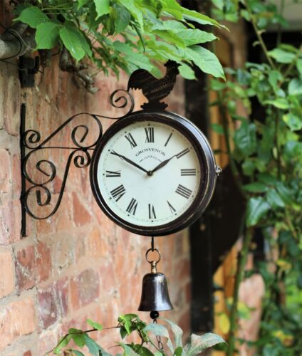 Garden Wall Station Clock Ornament double sided Bracket Rust Copper Effect <br/> Rust finish effect finish clock face 20cm
