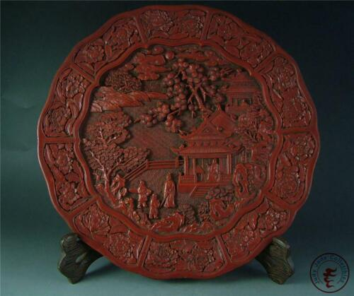 Antique Old Chinese Big Red Lacquer ware Statue Plate w/ Stand figures & flowers