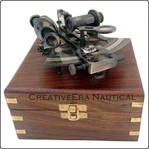 Antique Brass Working Sextant 5 Inch With Wooden Box Marine Astro Christmas Gift