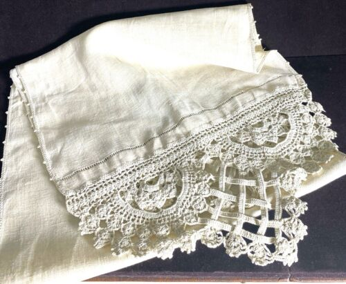 Vintage Arts and Crafts Linen Runner with Crochet  WW1