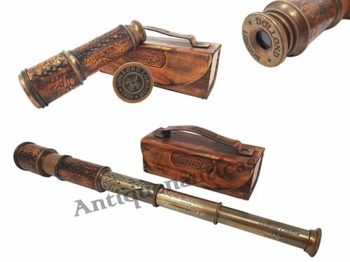Spyglass Dollond London Telescope 16 Inch Antique Brass With Brown Leather Box