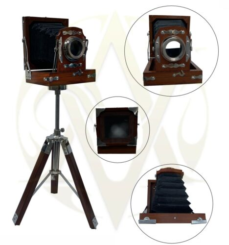 Nautical Wooden Cameras with tripod stand movie studio prop table desk top decor