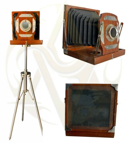 VINTAGE OLD VICTORIAN LONDON STYLE WOODEN CAMERA WITH FLOOR TRIPOD STAND DECOR