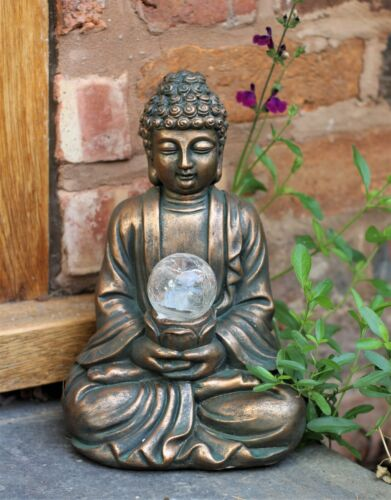 Garden Ornament Solar Buddha ZEN Colour changing Brass Effect Outdoor Indoor <br/> High Quality - Same Day UK Dispatch - Home Decor