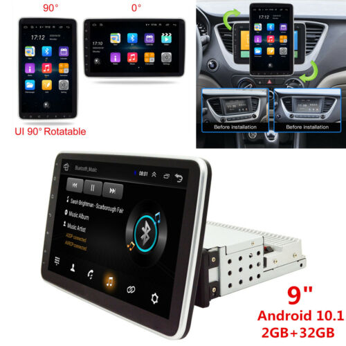"""9"""" Rotatable Touch Screen 1Din Android 10.1 Car Stereo Radio WiFi GPS Navigation"""