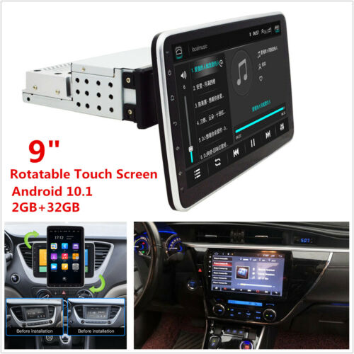 1 DIN Rotatable Touch Screen Android 10.1 Car Stereo Radio GPS Wifi Mirror Link