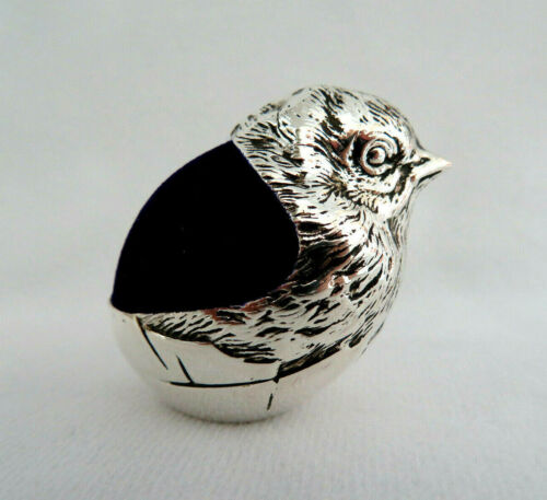 Silver Plated Hatching Chick Bird Sewing Pin Cushion