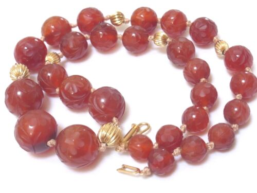 14k GOLD VINTAGE / ANTIQUE CHINESE CARNELIAN CARVED BEAD NECKLACE