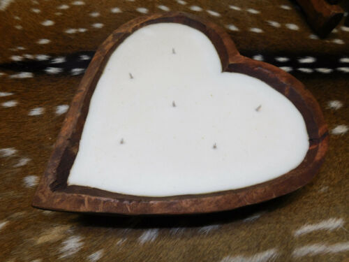 Carved Wooden Heart Dough Bowl Soy Wax Candle Scented BIRDS OF PARADISE Wood