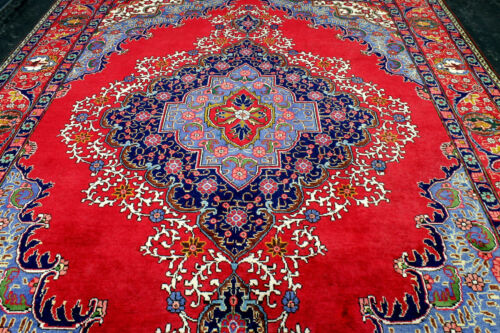 10X13 BREATHTAKING MINT HAND KNOTTED VEGETABLE DYE WOOL RED TABRIZZ ORIENTAL RUG