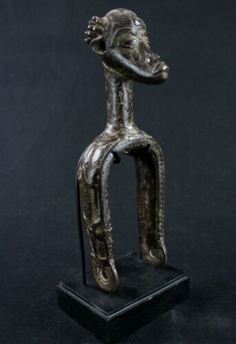 Art African - Pulley Occupation IN Loom Baoulé Bronze On Base - 21,5 CMS