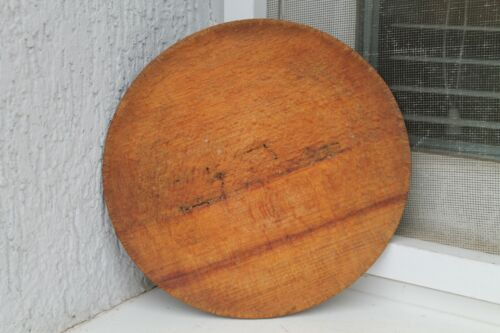 Vintage Wooden Round Bread Meet Cutting Board Primitive Chopping Kitchen Plate