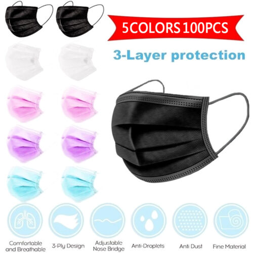 50Pcs Disposable Mask Face Masks Filter Anti PM2.5 Dust Respirator 3 Layers AU