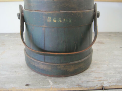 19th Century SHAKER Old Green Paint Wood Firkin BEANS in Mustard paint Primitive
