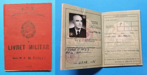 Romania Ministry of Armed Forces Military booklet - military rank GENERAL Major Original Period Items - 13982