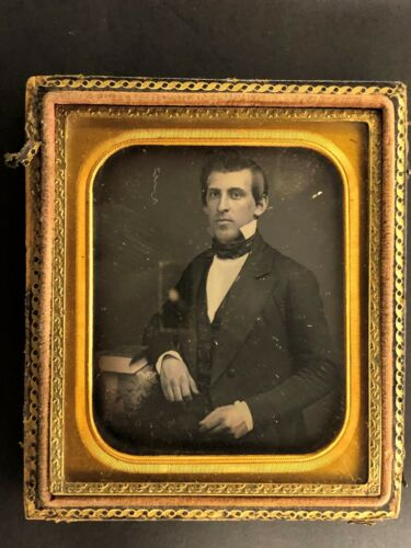 D01_041 Sixth Plate Daguerreotype Seated Gentleman With Book on the Table
