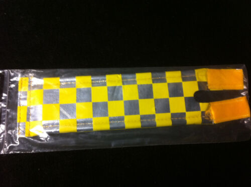 NOS Yellow & Chrome Checkered ANODIZED BY FLITE STEM PAD Old School BMX Pads