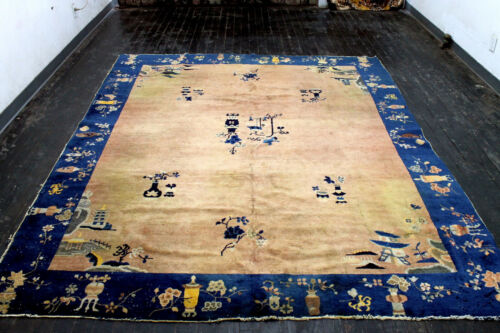 8X10 1900's AUTHENTIC HAND KNOTTED 100+YEARS ANTIQUE WOOL PEKING CHINESE RUG