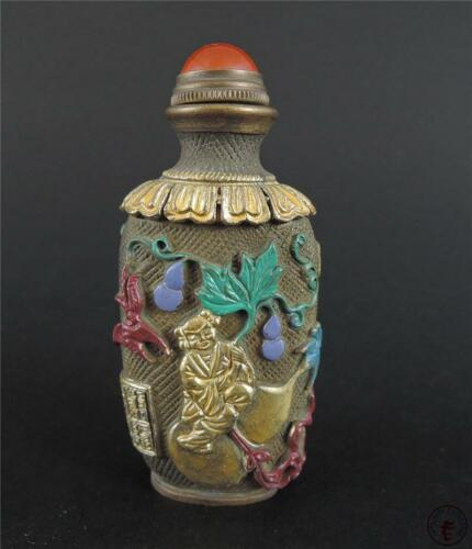 Fine Old Chinese Copper Made Snuff Bottle Calabash & Butterflies