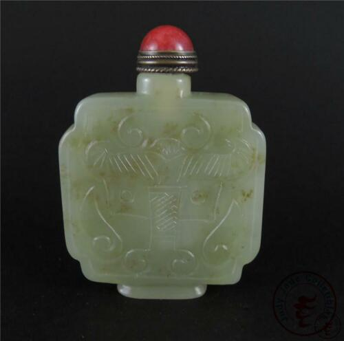 Antique Old Chinese Celadon Nephrite Jade Carved Snuff Bottle DRAGONS on surface