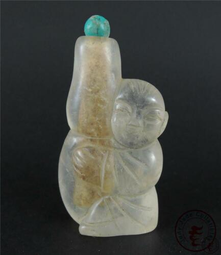 Old Chinese Peking Glass Snuff Bottle fairy boy & Calabash ~ AUSPICIOUS