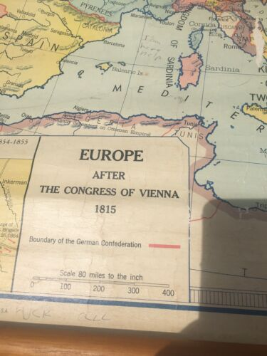 Europe after The Congress Of Vienna 1815 - vintage school map