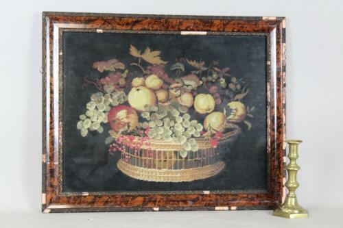 RARE 19TH C EMBROIDERED NEEDLEWORK PICTURE WOOL ON WOOL FRUIT IN A SPLINT BASKET