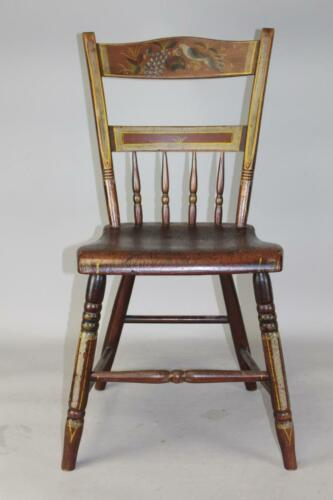 """#1 OF 2 19TH C """"LOVE BIRD"""" PAINT DECORATED STEPDOWN WINDSOR CHAIRS BEST PAINT"""