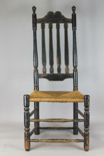 RARE 18TH C WILLIAM & MARY CT CROWN CREST BANNISTER BACK CHAIR OLD BLACK PAINT