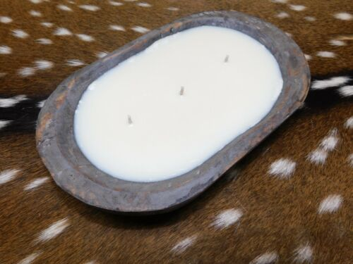 Carved Wooden Dough Bowl Soy Wax Candle Scented HONEYSUCKLE JASMINE Wood 1LB