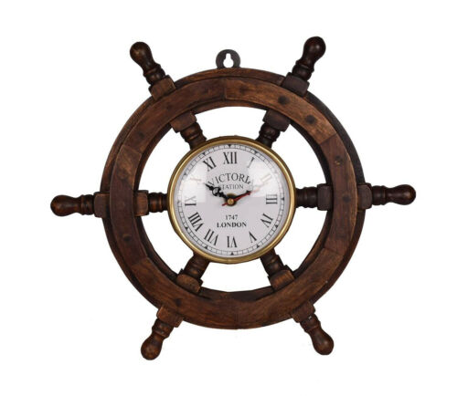Wooden Ship Steering Wheel Clock 18 Inch Nautical Wall Decor FatherDay Decorates