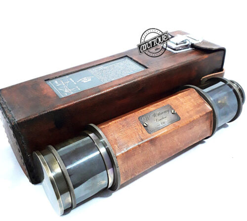Valentine Gift Antique Brass Telescope With Beautiful Nautical Leather Case Deco