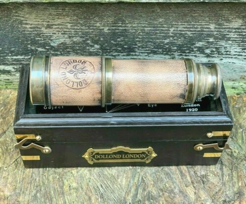 Dollond London nautical brass antique telescope With decorative wooden box decor