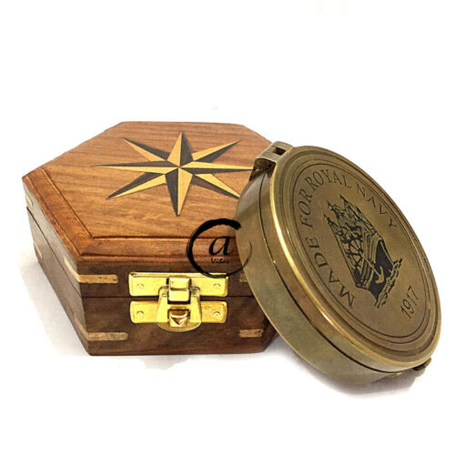 Nautical Style Antique Brass Gift Pocket Camping Compass in Nautical Wooden Box