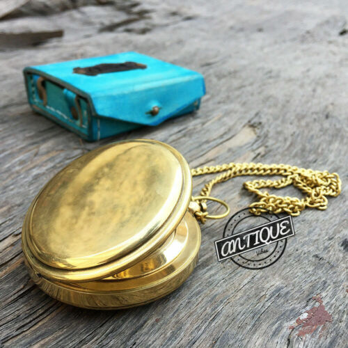 FatherDay Necklace Chain Leather Case with Compass Hiking Camping Sports.