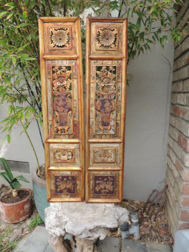 S1P. Antique Carved Gold Gilt Wood Panel w/ two pcs/set  Vase/ Flower and Fish